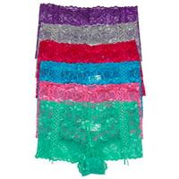 ToBeInStyle Women's Pack of 6 Zig Zag Lace Boyshort Panties - Small