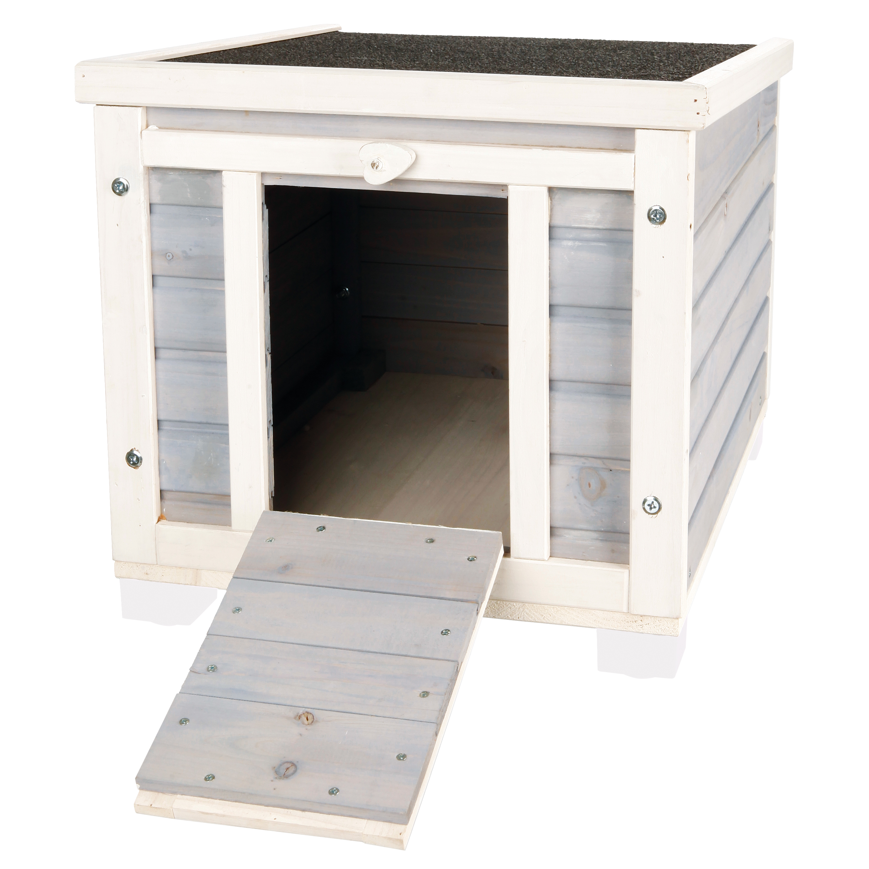Trixie Pet Products Outdoor Cat House With Ramp Gray 21 In Walmart Com Walmart Com