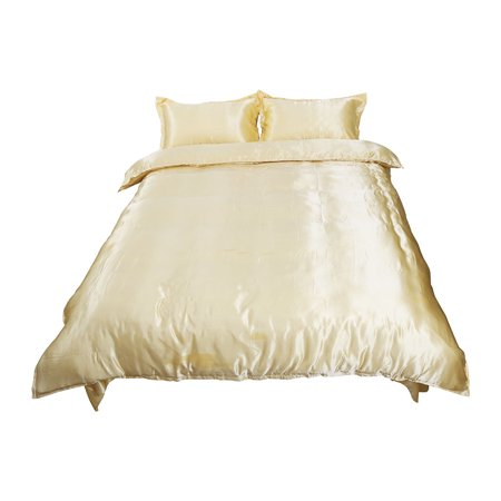 Golden Satin Silk Like Bedding Set Duvet Cover Pillowcase Sheet, Queen Size