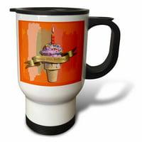 3dRose Happy 95th Birthday, Strawberry Ice Cream Cone on Abstract, Orange, Travel Mug, 14oz, Stainless Steel