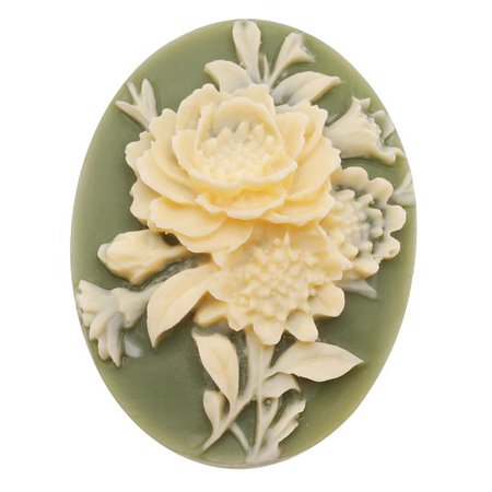 Ivory Acrylic Cameo (Vintage Style Lucite Oval Cameo Green With Ivory Flowers 40x30mm (1))