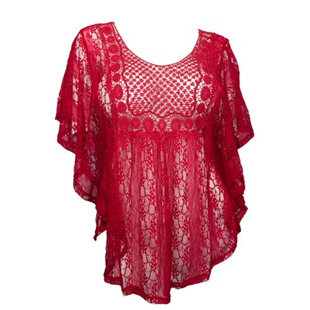 eVogues Plus Size Sheer Crochet Lace Poncho Top Red (Red Tops Plus Size)