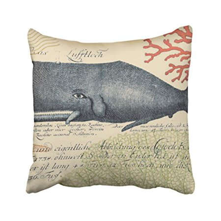 WinHome Square Throw Pillow Covers Vintage Seaside Blue Whale Collage Pillowcases Polyester 18 X 18 Inch With Hidden Zipper Home Sofa Cushion Decorative Pillowcase