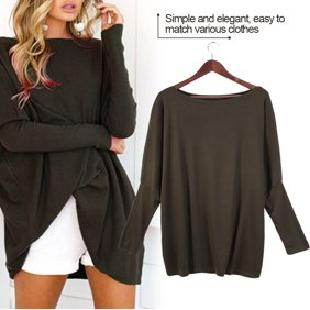 DYMADE Ladies Girls Autumn Fashion Loose Plus Size V Neck Pullover Cashmere Knitted Sweater Size L Grey