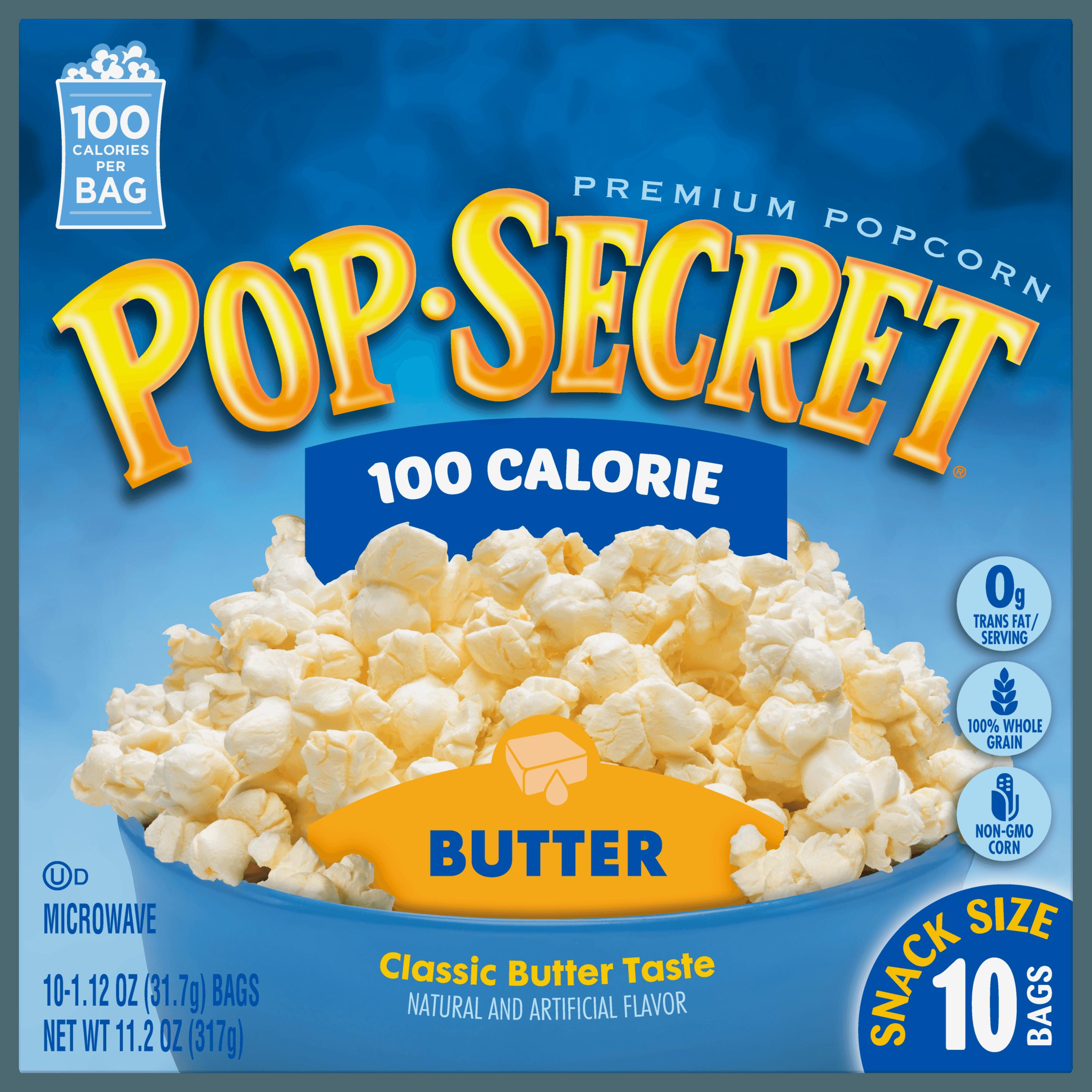 Pop Secret Popcorn, 100 Calorie Butter, 1.12 oz Snack Size Microwave Bags, 10 Count Box