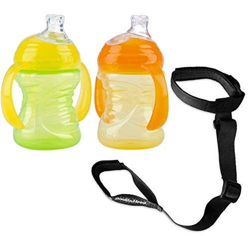 Nuby 2 Count 2 Handle No Spill Super Spout Cup with Sippy Cup Strap Holder, G... by NUBYBABY