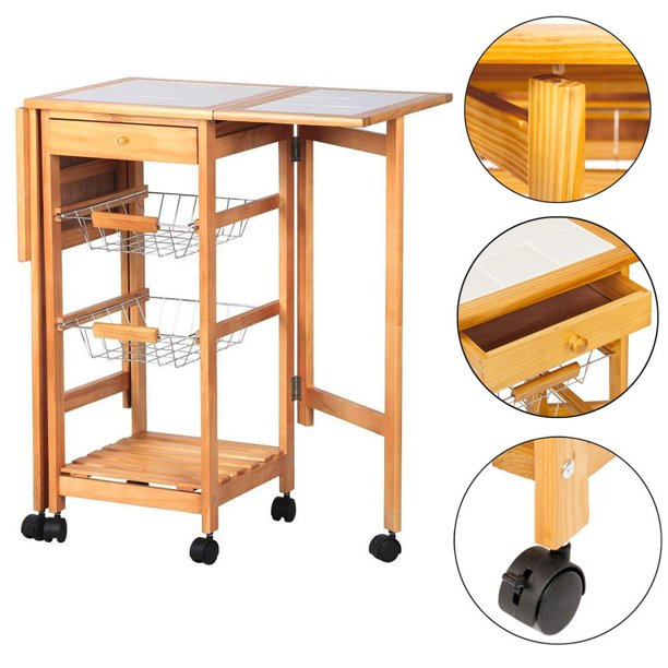 FCH Kitchen Cart Rolling Drop Leaf Kitchen Storage Island Cart Trolley Folding Table