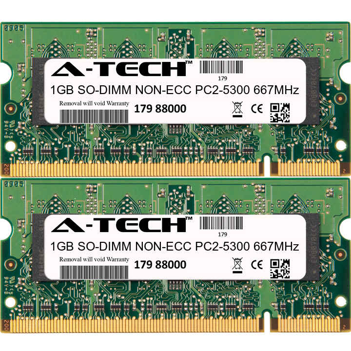 2GB Kit 2x 1GB Modules PC2-5300 667MHz NON-ECC DDR2 SO-DIMM Laptop 200-pin Memory Ram