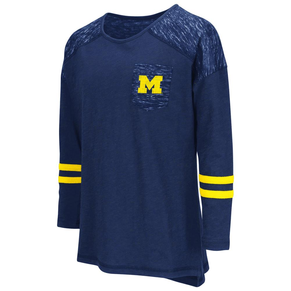 University of Michigan Wolverines Girls Pocket Tee Youth Long Sleeve Shirt