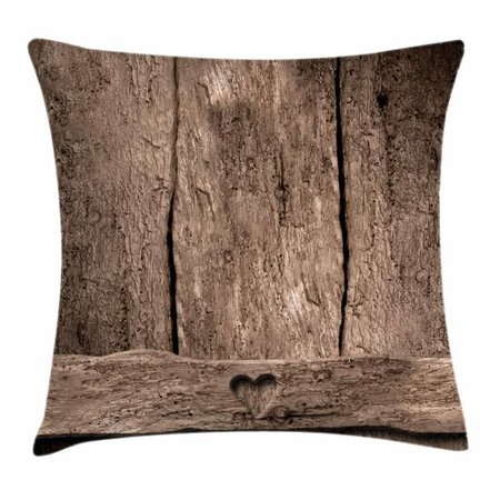 Primitive Country Decor Throw Pillow Cushion Cover, Love Themed Romantic Cute Heart Shape on Rustic Rough Wooden Slats Image, Decorative Square Accent Pillow Case, 16 X 16 Inches, Umber, by Ambesonne
