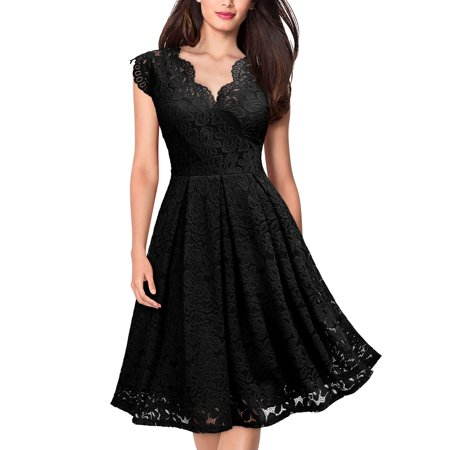 MIUSOL Women's Vintage Floral Lace Cocktail Party Sleeveless V-Neck A-line Evening Dress(Black,Size -