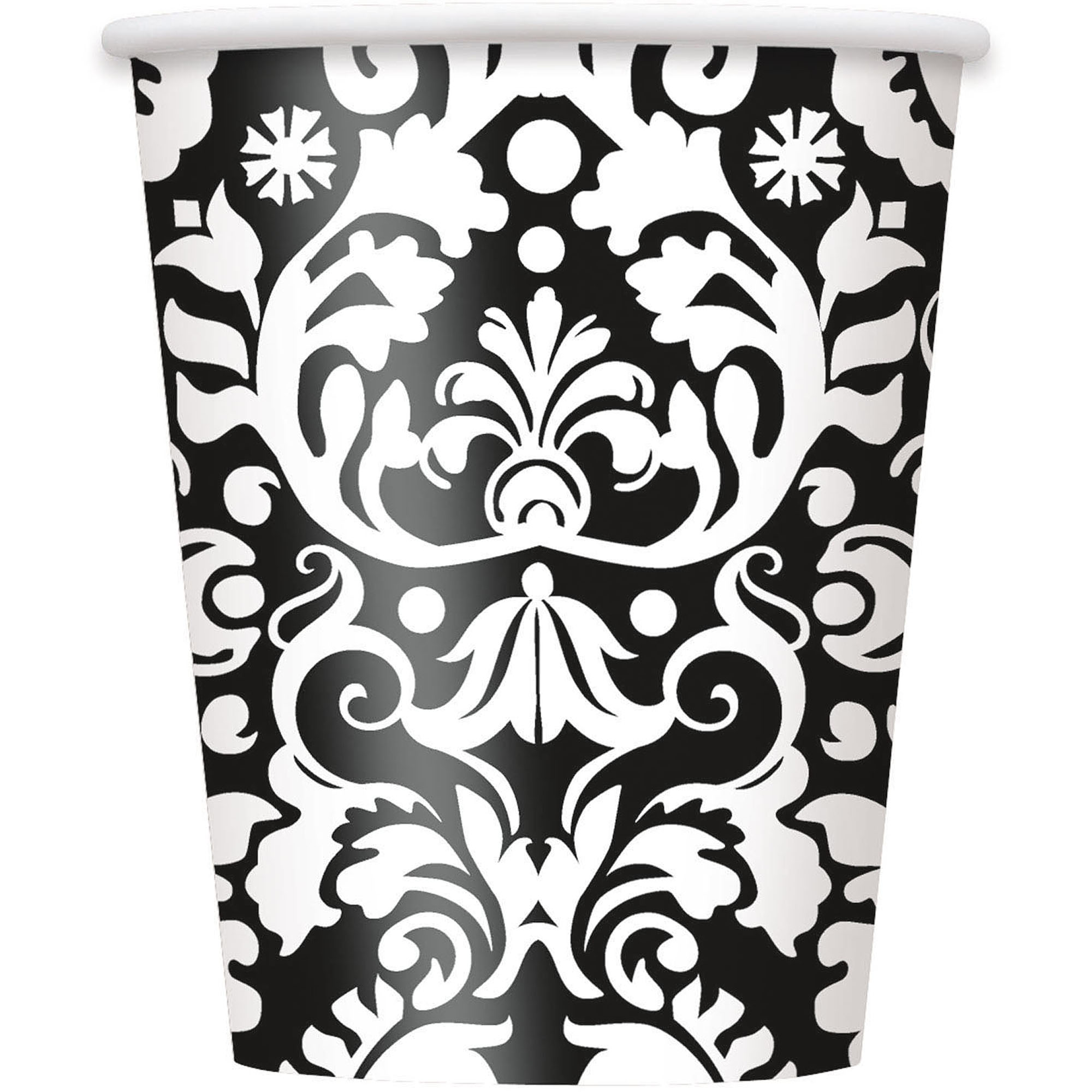 9 oz Black Damask Paper Cups, 8ct