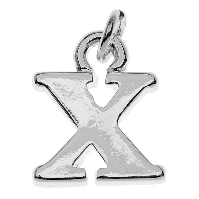 "Lightweight Initial Charm, Alphabet Letter ""X"" 11x9.3mm, 1 Piece, Silver Plated"