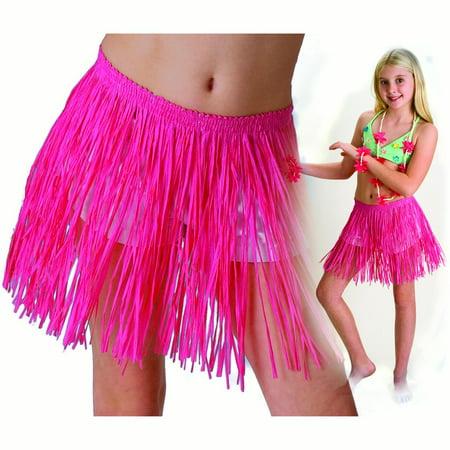 Tropical Sun Girls Luau Tropical Paper Raffia Hula Skirt, Pink,
