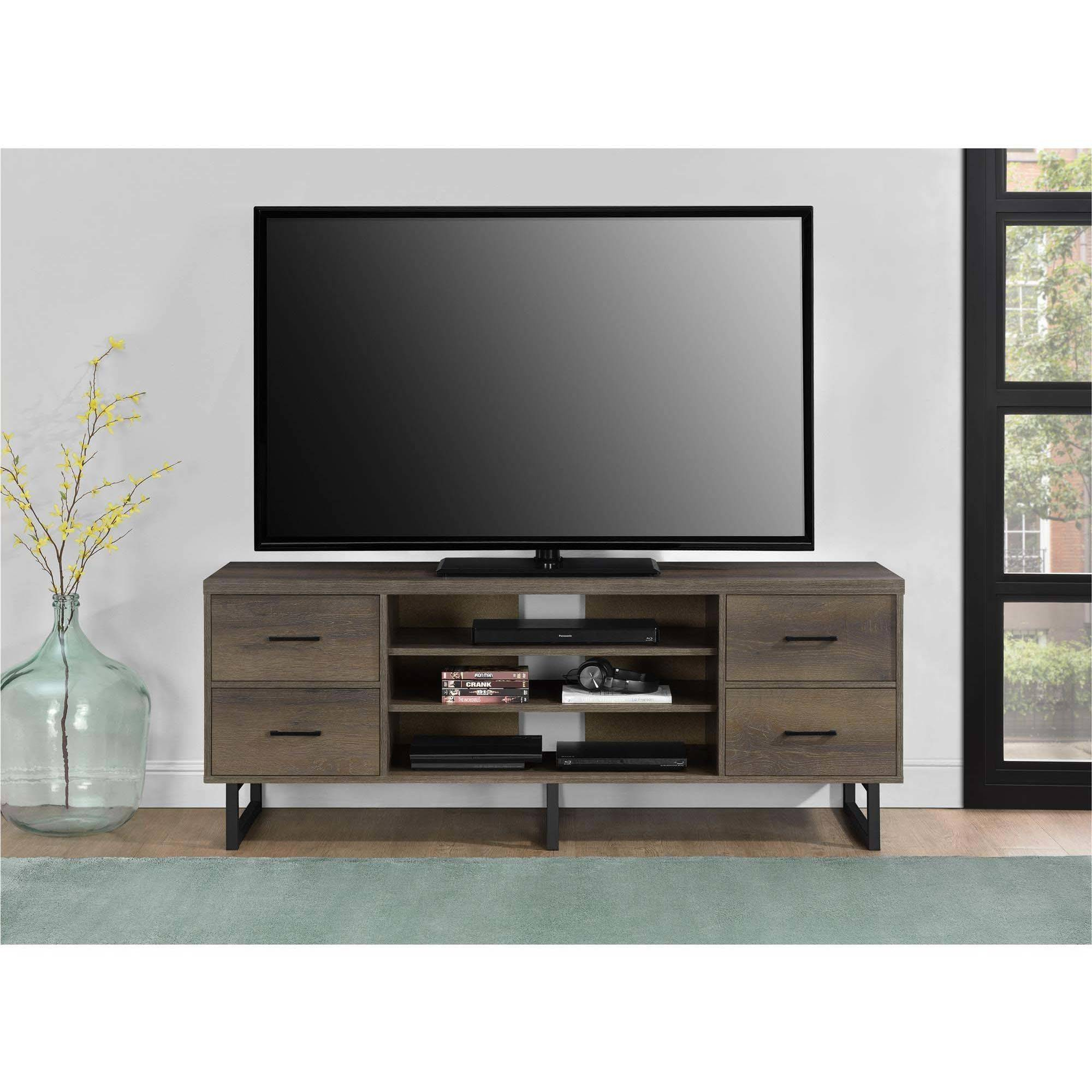 """Ameriwood Home Candon TV Stand with Bins for TVs up to 60"""" wide, Distressed Brown Oak"""