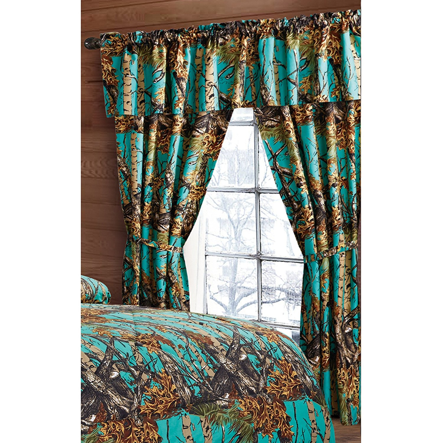 Regal Comfort The Woods Teal Camouflage 5pc Curtain Set For Hunters Cabin  Or Rustic Lodge Teens