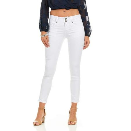 CG JEANS Women's Juniors Skinny Fit Slim Mid Rise Waist Cute Colored Biker, White Denim,
