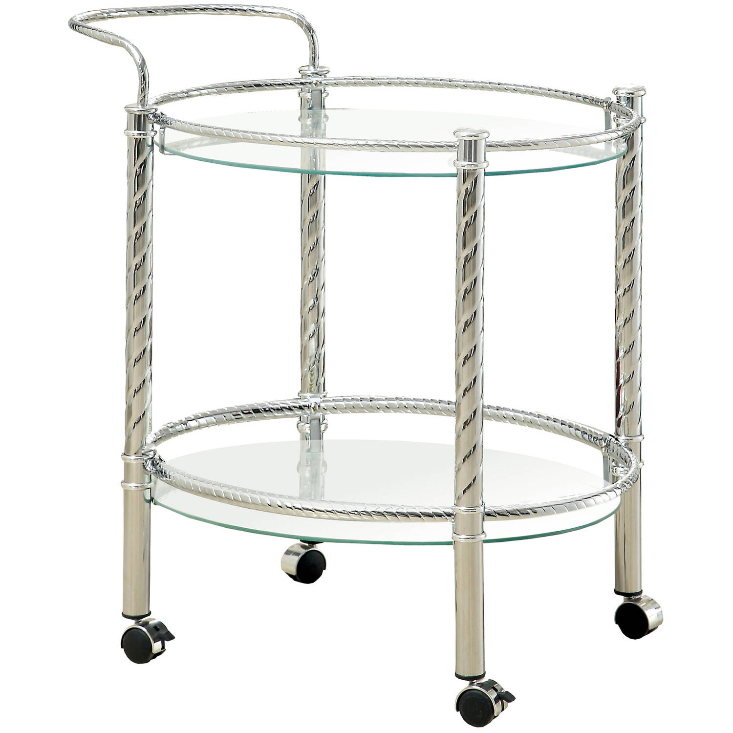 Furniture of America Teyana Mobile Kitchen Cart, Chrome