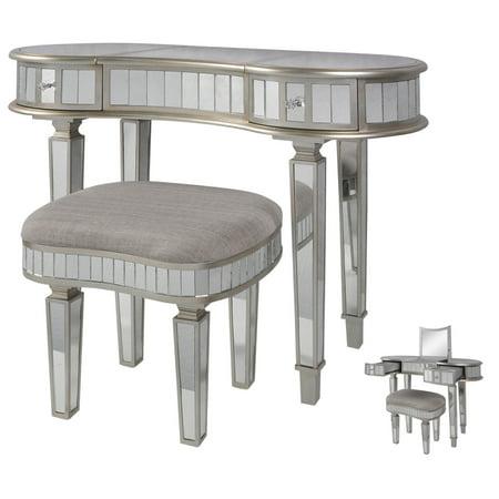 2 Piece Kidney Shaped Mirrored Vanity Set - Brushed Steel Finish - Gray Cushion Art Deco Steel Vanity