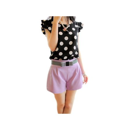 Weefy Women Chiffon Ruffled Short Sleeve White Polka Dots Shirts Tops