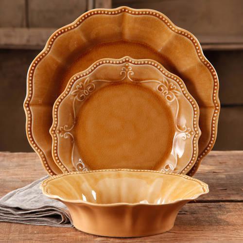 The Pioneer Woman Paige 12-Piece Crackle Glaze Dinnerware Set, Denim