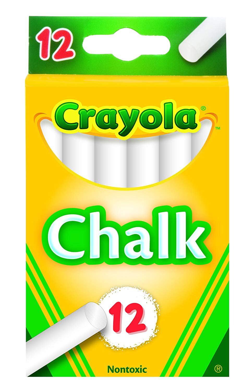 72 Sticks! Crayola Non-Toxic Chalk White 12 sticks Per Pack 6 PK 51-0320