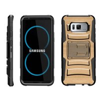 TurtleArmor ® | For Samsung Galaxy S8 G950 [Hyper Shock] Rugged Dual Layer Hybrid Armor Kickstand Holster Belt Clip Case - Maple Wood