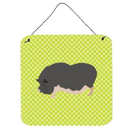 Vietnamese Pot-Bellied Pig Green Wall or Door Hanging Prints, 6 x 6 in. ()