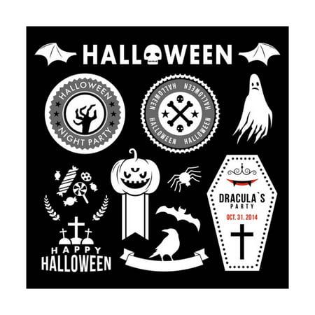 Halloween Decorations Folk Art (Set of Halloween Party Decoration Design Elements. Vector Illustration. Print Wall Art By)