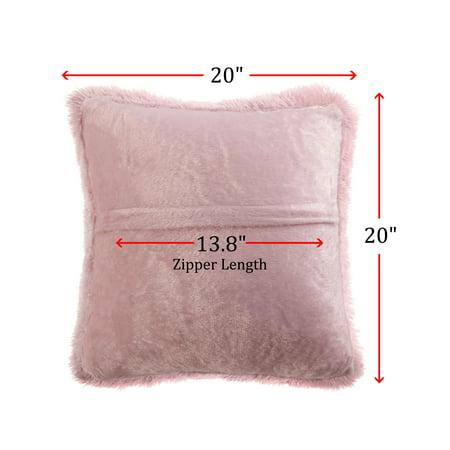 "20"" x 20"" Throw Pillow Case Faux Fur Fuzzy Cushion Cover Dark Pink - image 3 de 8"