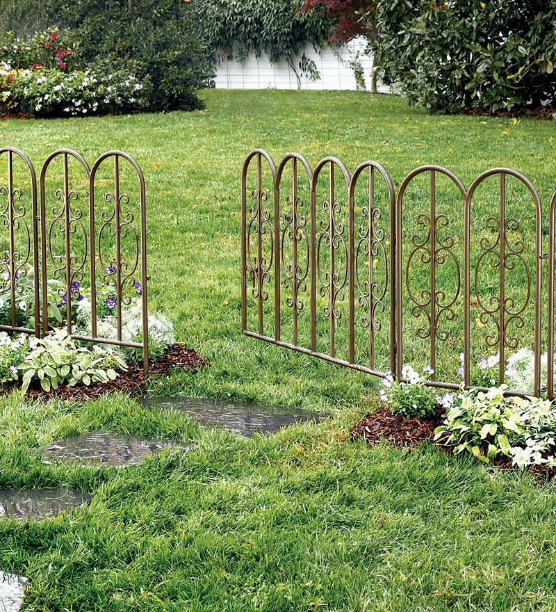 Montebello Outdoor Decorative Fence w  Gate in Gunmetal by Plow & Hearth