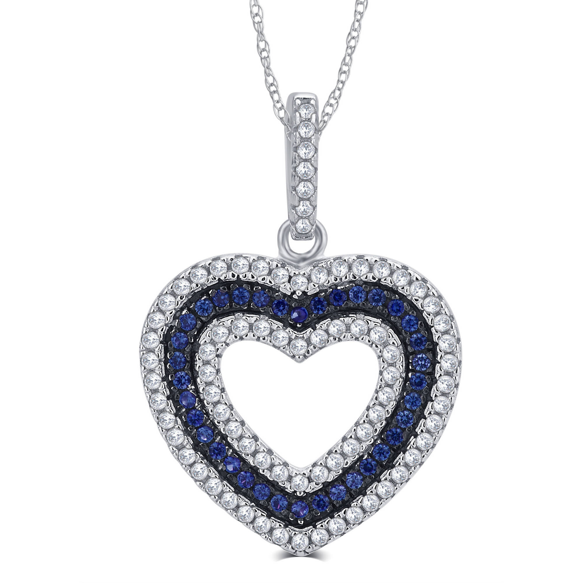 1/4 Carat T.G.W. CZ and Created Blue Sapphire Gemstone Sterling Silver Heart Pendant Necklace, 18""