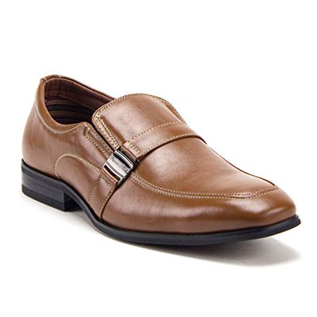 Men's 20623 Classic Round Toe Slip On Leather Lined Loafers Dress Shoes, Brown, 11 Leather Round Toe Loafers