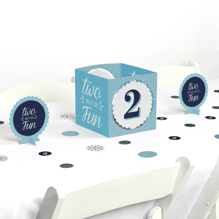 Two Much Fun - Boy - 2nd Birthday Party Centerpiece & Table Decoration Kit