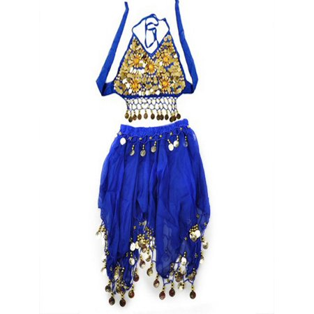 TopTie Kid's Tribal Belly Dance Girl Skirt & Halter Top Set, Halloween Costumes-Blue-M (Dance Party Halloween)