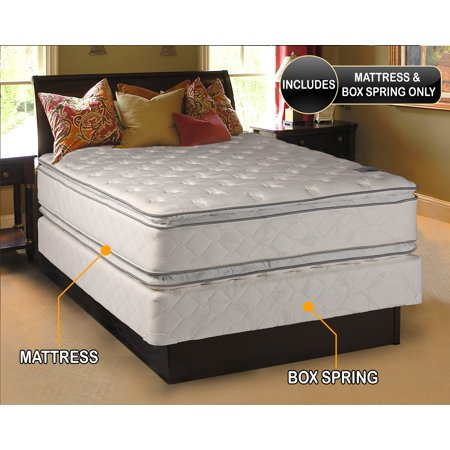 princess dream plush firm pillow top queen size mattress and box spring set fully assembled. Black Bedroom Furniture Sets. Home Design Ideas