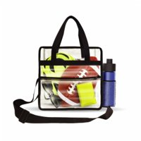 Deluxe Clear Tote Bag w/Zipper and Shoulder Straps, NFL Stadium Approved Security Bag, 12x12x6, Clear Vinyl, Outside Zippered Pocket, Bottle Holder, Great for Concerts, Work, Beach