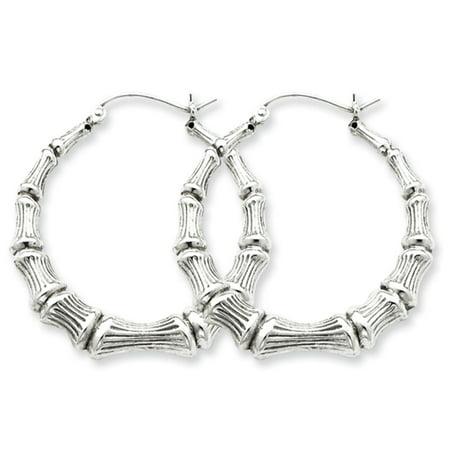 Bamboo Hoop Earrings in Sterling Silver - 35mm (1-3/8 -