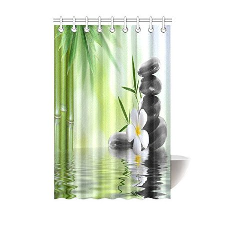 (MYPOP Spa Decor Collection, Garden with Frangipani Bamboo Zen Basalt Stones Japanese Relaxation Luxury Travel Design Bathroom Shower Curtain 48 X 72 Inches, Green White Yellow)