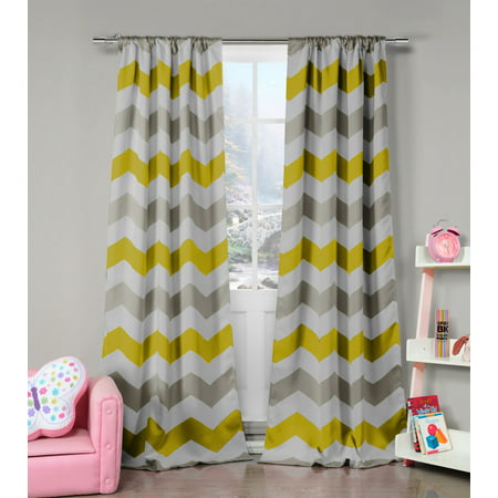 Bedroom 39 Inch Set - Fifferly 39 in. W x 84 in. L Polyester Window Panel in Grey-Yellow-White (2 pieces)