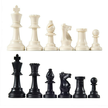 Style Metal Chess Pieces (Heavy Weight Chess Game Set for Schools,Chess Board Game International Chess Pieces Complete Chessmen Set Black &)