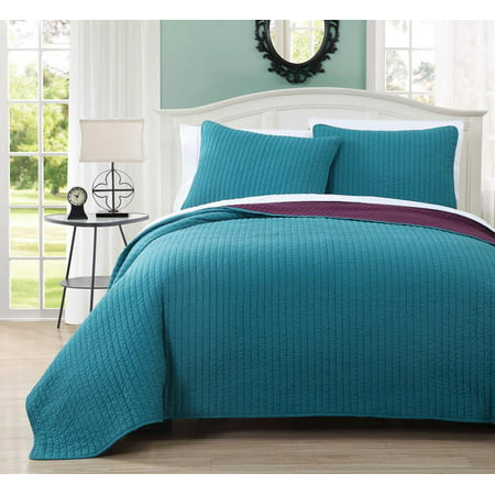 Project Runway Oversized Reversible Quilted Full/Queen Coverlet Set / Wrinkle-Free Mini Bedspread Set :  Teal and Plum ()
