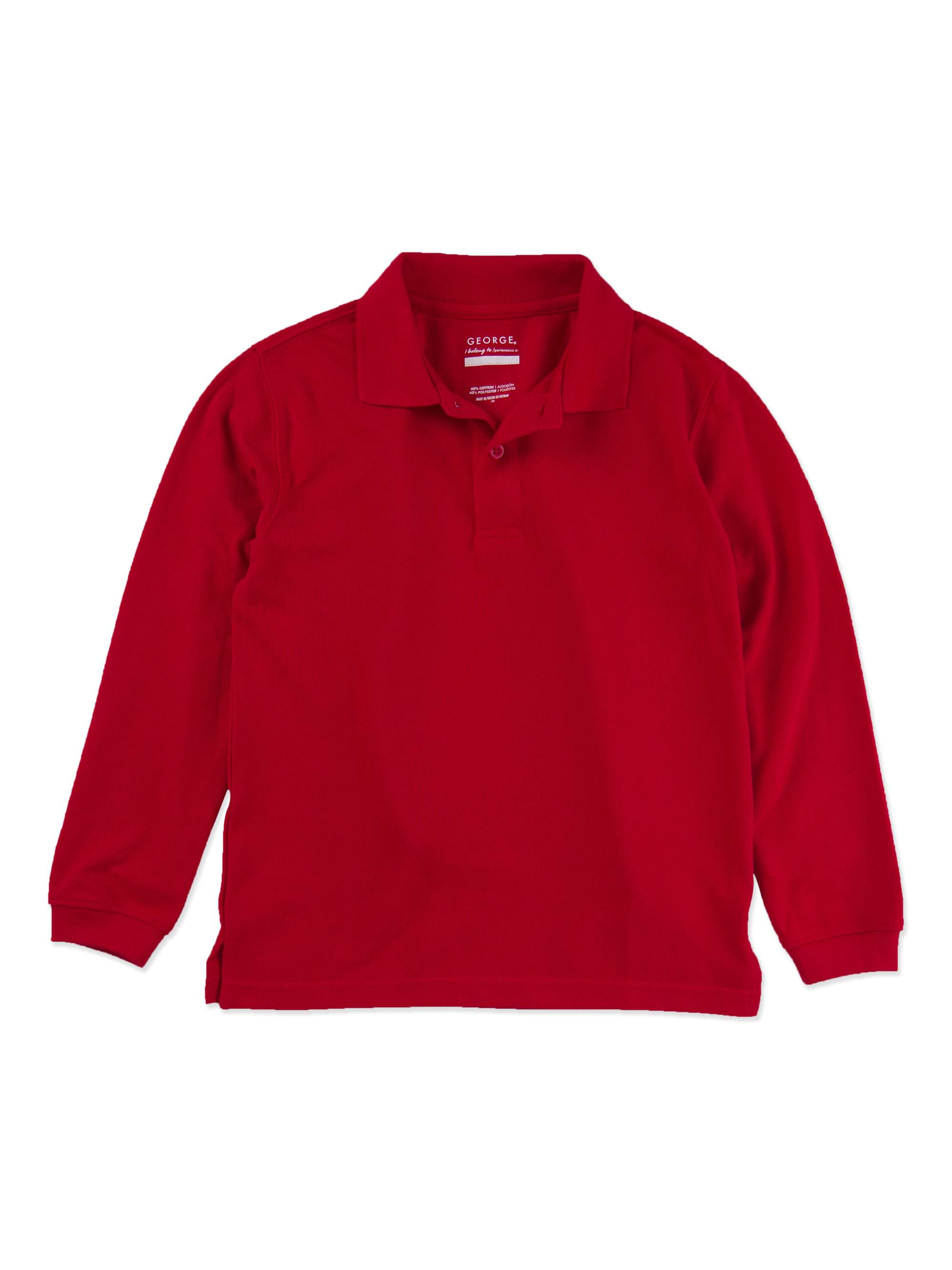 Boys School Uniforms Husky Size Long Sleeve Polo Shirt