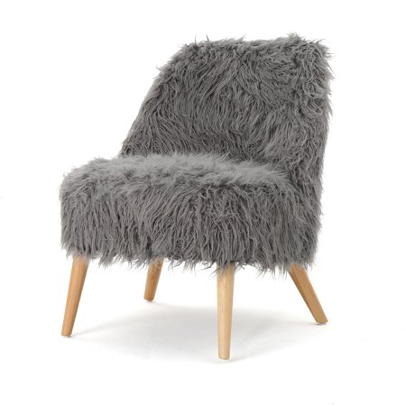 Soho Faux Fur Accent Chair, Grey