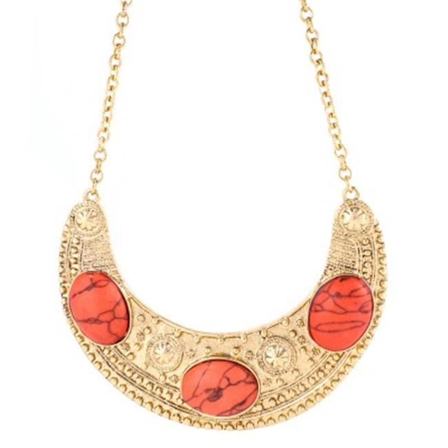 C Jewelry Coral And Gold Bib Necklace