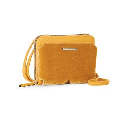 No Boundaries Oro Gold Velvet Zip Around Crossbody Bag