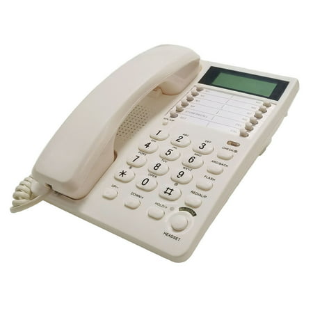 White Caller ID Phone for wall or desk with Speaker and