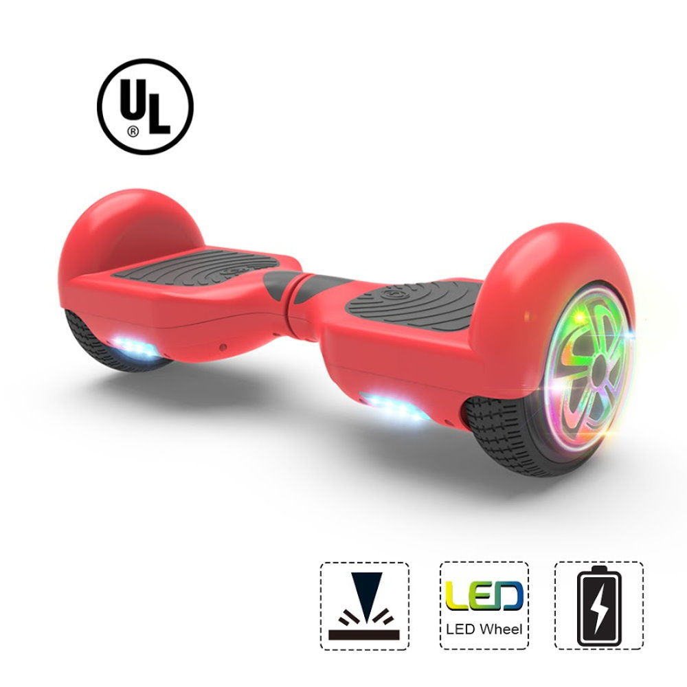 """Hoverboard Flash Wheel Two-Wheel Self Balancing Electric Scooter 6.5"""" UL 2272 Certified Red"""