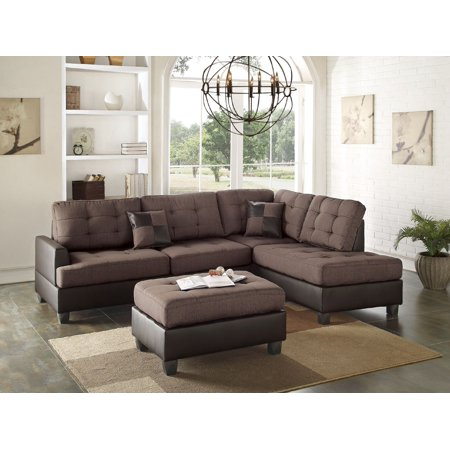 Wondrous Mathew Sectional Sofa Set Classic Chocolate Linen Like Fabric Sofa Chaise Ottoman Tufted Comfort Couch Living Room Furniture Ibusinesslaw Wood Chair Design Ideas Ibusinesslaworg