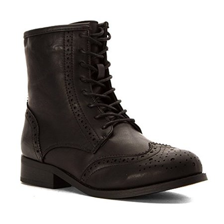 Wanted Rickey - Black Perforated Wing-Tip Lace-Up Boot in 8 (6 B(M)